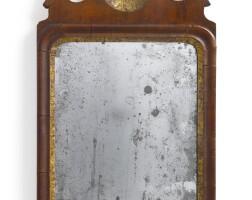 6045. rare queen anne parcel-gilt walnut small wall mirror, circa 1750