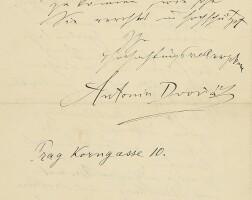 177. dvorák, antonín. remarkable, unpublished autograph letter signed to the conductor karl müller in frankfurt