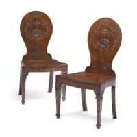 31. a pair of george iii mahogany hall chairs circa 1765