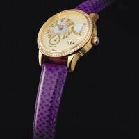 2050. 格拉蘇蒂 | 「pano reserve」黃金鑲鑽石腕錶備日期、動力儲存顯示及珠母貝錶盤,機芯編號01959,錶殼編號00001,年份約2005。