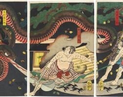 16. utagawa yoshitsuya (1822–1866)kyoyaku suikoden: kogakure kintaro hides himself using witchcraft edo period, 19th century |