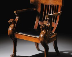 32. a carved mahogany desk armchair or « fauteuil de la convention », french revolution period, circa 1795, stamped g.iacob, after a drawing by the architect charles percier  