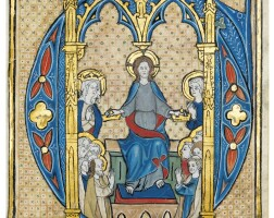 14. christ crowning all saints, historiated initial on a cutting from an illuminated manuscript gradual, on vellum