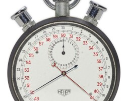 5. heuer   a stainless steel split second chronograph stopwatch withregistercirca 1965