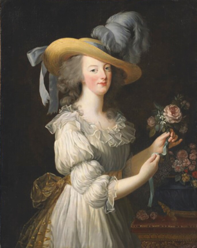 Painting of Marie Antoinette in white muslin and a straw hat with a feather.