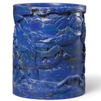 3661. a rare lapis lazuli brushpot qing dynasty, qianlong period |