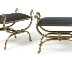 34. a pair of neoclassical style gilt-brass stools,20th century