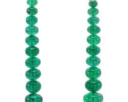 198. pair of emerald and diamond earrings