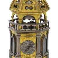11. 德國製 | 文藝復興時期銅鎏金及鋼六角座鐘,十六世紀末