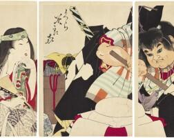 31. tsukioka yoshitoshi (1839–1892)yama uba and kintaro breaking open the storehouse (kura biraki) meiji period, 19th century | kintaro cracking kagami mochi (kura biraki), meiji period, 1891