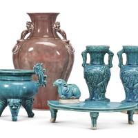1043. six monochrome-glazed ceramics qing dynasty, 18th - 19th century |