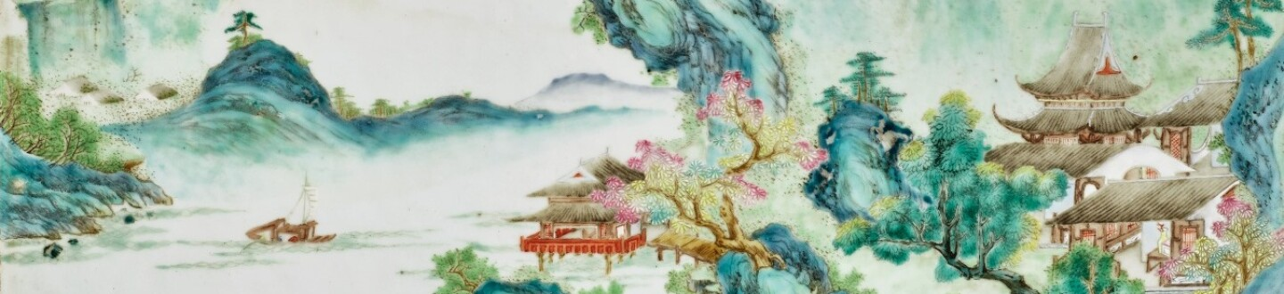"""Exceptional and Rare Famille-Rose """"Landscape"""" Panel, By Tang Ying, Qing Dynasty"""