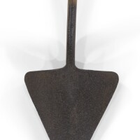 197. an unusual ash and hammered iron spade, late 19th century  