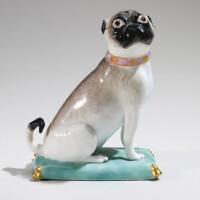 208. a meissen figure of a pug dog circa 1745