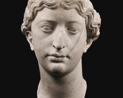 19. a fragmentary roman marble portrait head of a woman, perhaps livia, early 1st century a.d. | a fragmentary roman marble portrait head of a woman, perhaps livia