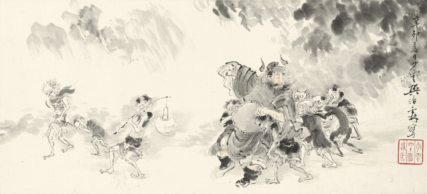 Fan Haolin painting of demon queller Zhong Kui amid ghosts and demons