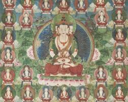 457. a thangka depicting vairocanachina, qing dynasty, 18th /19th century