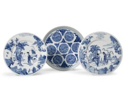 8. a pair of chinese blue and white dishes kangxi period, (1662-1722)