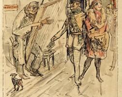 144. alfred kubin | st. martinus der heilige ritter beobachtet mit dem zeichner das leben und treiben am graben in wien (st martin the holy knight and the artist observe life and the daily grind at the graben in vienna)