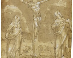 309. andrea boscoli | the crucifixion with the virgin and saint john the evangelist