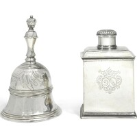 608. a dutch silver table bell , hendrick griste i, amsterdam, 1742 |