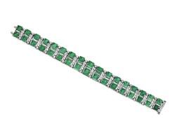 26. 鉑金鑲祖母綠配鑽石手鏈