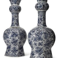 3. a pair of dutch delft blue and white large double gourd vases 18th century