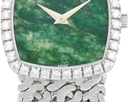 21. piaget | reference 9236 n66 a white gold and diamond-set bracelet watch with jade hardstone dial, circa 1980
