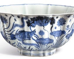 101. an exceptionally large, fine and important blue and white lobed 'fish pond' bowl mark and period of xuande