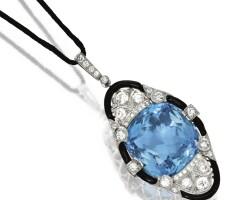 129. platinum, aquamarine, diamond and enamel pendant, f. walter lawrence, circa 1920