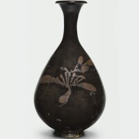 11. a russet painted black-glazed bottle vase, yuhuchun ping northern song / jin dynasty |