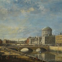 19. james hore | the four courts, dublin, from the quay; the phoenix park in the distance