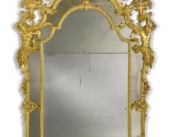 15. a north italian late baroque carved giltwood mirror genoa, circa 1720