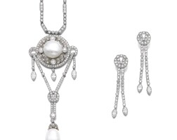 219. pair of diamond earrings, cartier, and a natural pearl and diamond necklace