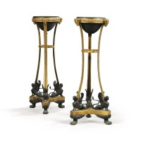 9. a pair of neoclassical patinated and gilt-bronze atheniennes, probably russian, circa 1820