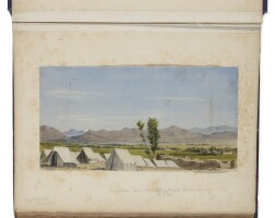 4. [afghanistan]. irwin. an album of 44 original watercolors and pen and ink drawings, including a fine panorama.afghanistan: ca. 1879-1880