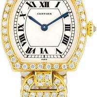 122. cartier   tortue a yellow gold, diamond and culturedpearl-set bracelet watch, circa 1980