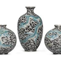 166. a set of three cloisonné vases meiji period, late 19th century | a set of three cloisonné vases