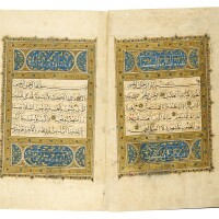 16. a large illuminated qur'an in two volumes, egypt or yemen, mamluk or rasulid, 15th century |