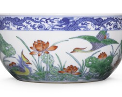 5. a doucai 'lotus pond' bowl qianlong seal mark and period |