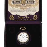 20. a. lange & söhne, glashütte   an exceptionally rare gun metal and gold double dialled two time zone half-hunting and open-faced watch with box and certificatecirca 1904 no. 47201
