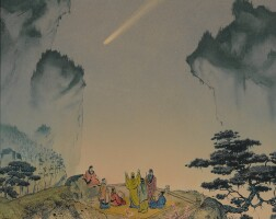 """4. bonestell, chesley. """"halley's comet, china 240 bc,"""" 1960"""