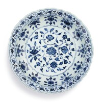 102. afinely painted blue and white barbed 'floral' charger ming dynasty, yongle period |
