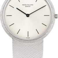 144. patek philippe   calatrava, reference 3520/12 a white gold bracelet watch, made in 1968