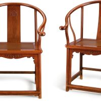 107. a pair of huanghuali continuous horseshoe-back armchairs, quanyi late ming dynasty |