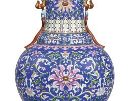 3611. 清乾隆 洋彩藍地番蓮紋如意耳瓶 《大清乾隆年製》礬紅款 |