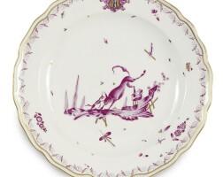 9. a meissen armorial dinner plate circa 1745