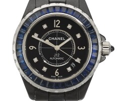 24. chanel | a limited edition sapphire and diamond-set ceramic and white goldautomatic wristwatch with date and braceletref h2309 12/100case wc73314 j12 circa 2010