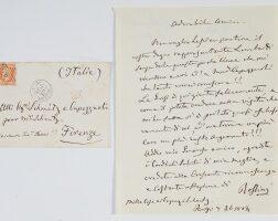 """209. rossini, gioachino. fine autograph letter signed (""""rossini""""), to mr schmitz and signora capezzuoli"""