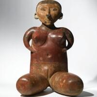 30. monumental chinesco seated female, lagunillas type a, protoclassic, ca. 100 b.c.-a.d. 250